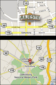 Map of Gettysburg Pennsylvania showing location of Majestic Theater